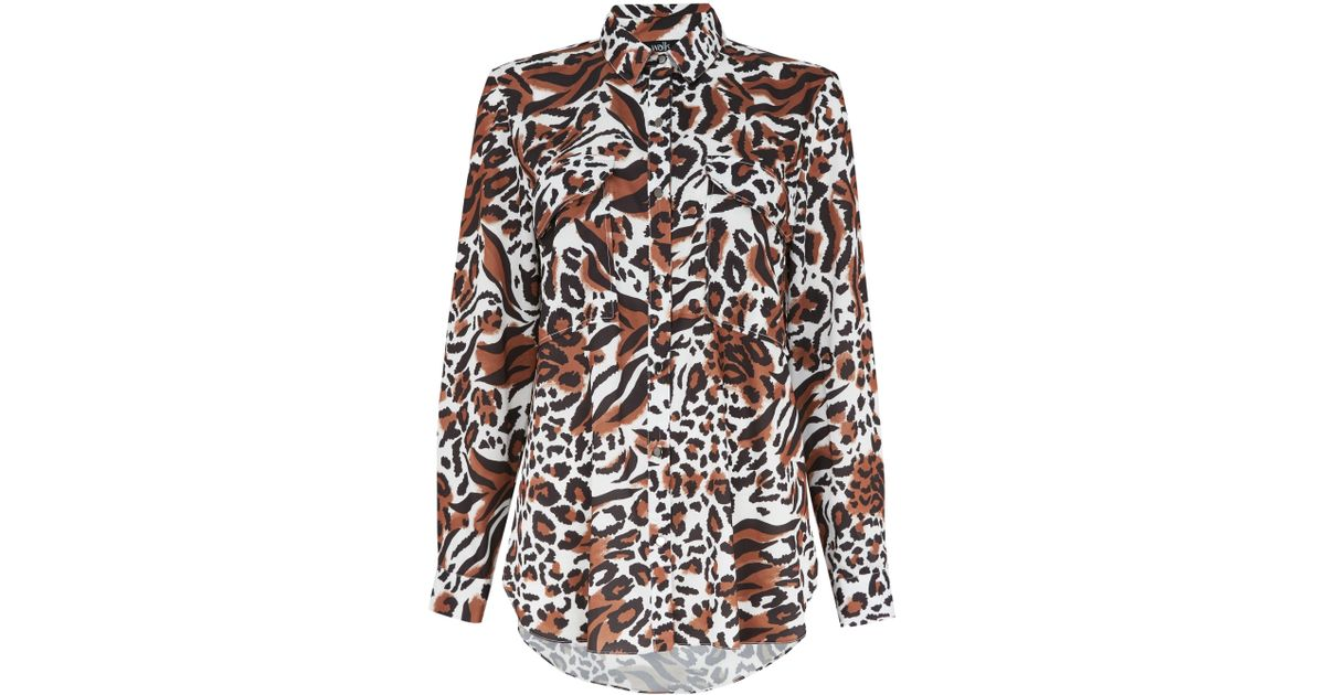 52d394c132e1 Wallis Brown Animal Print Utility Shirt in Brown - Save 5% - Lyst