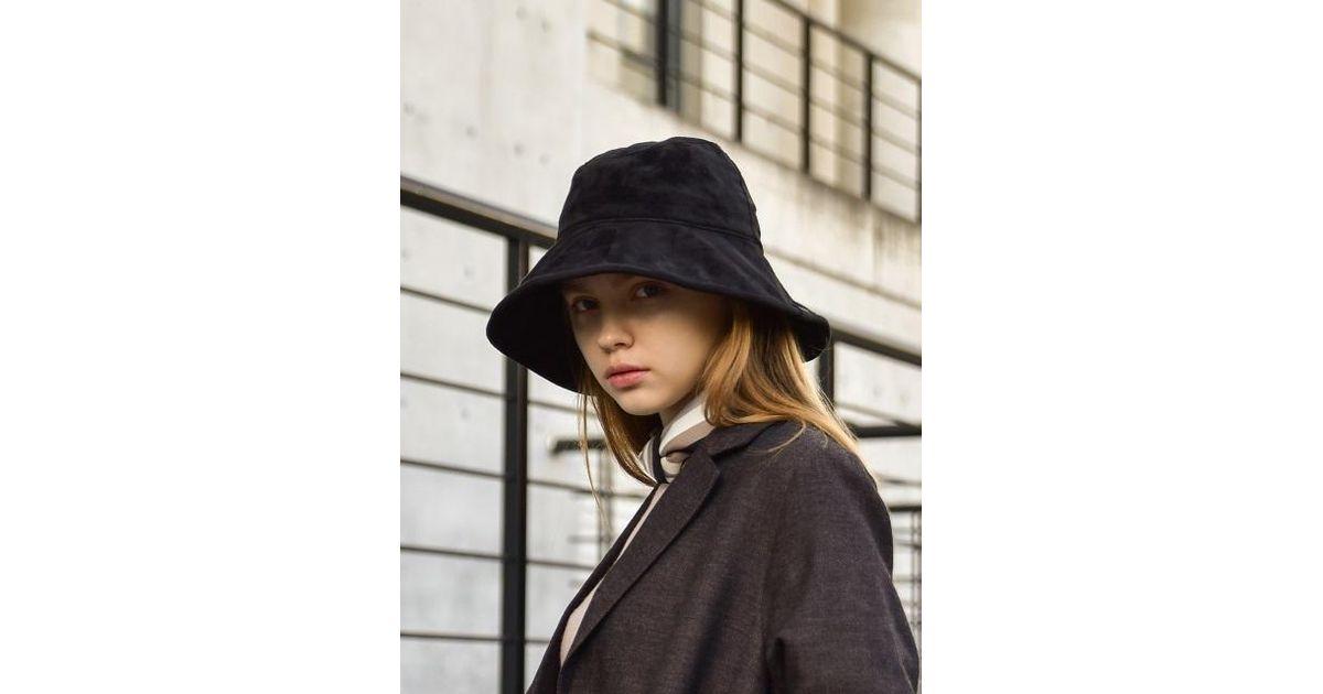 a8cdf753 W Concept Nancy Oversize Suede Bucket Hat in Black - Lyst