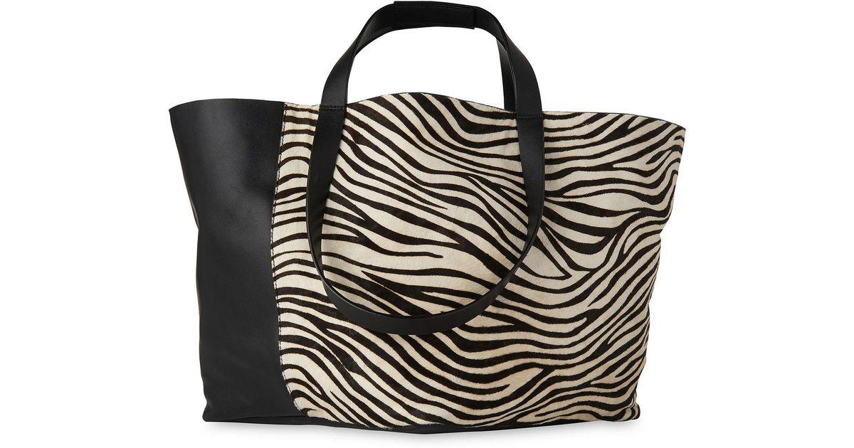 df7dae85ba Lyst - Whistles Java Zebra Pony Tote in Black