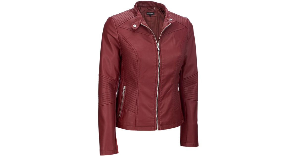 f0941dc6e2a Lyst - Wilsons Leather Plus Size Black Rivet Moto Mock Collar Faux-leather  Jacket in Red
