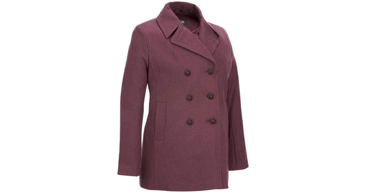 7deb560f07c Lyst - Wilsons Leather Plus Size Kenneth Cole Double-breasted Classic Wool-blend  Peacoat in Purple