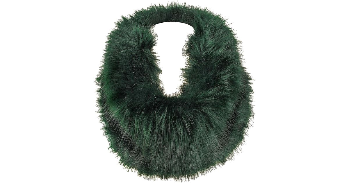 d3d0ad9c6 Lyst - Wilsons Leather Black Rivet Tone On Tone Faux-fur Self Inside Loop  Scarf in Green