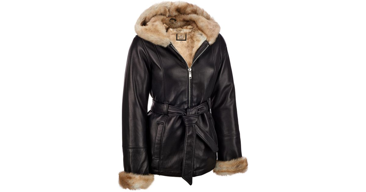 01a1d52c0115b Lyst - Wilsons Leather Plus Size Vintage Belted Leather Jacket W  Faux-fur  Lining in Black