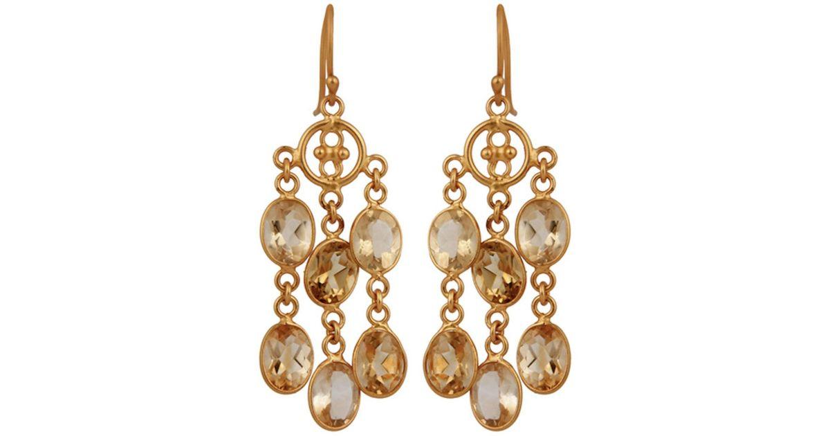 Lyst Carousel Jewels Elegant Gold Citrine Dangle Earrings In Metallic