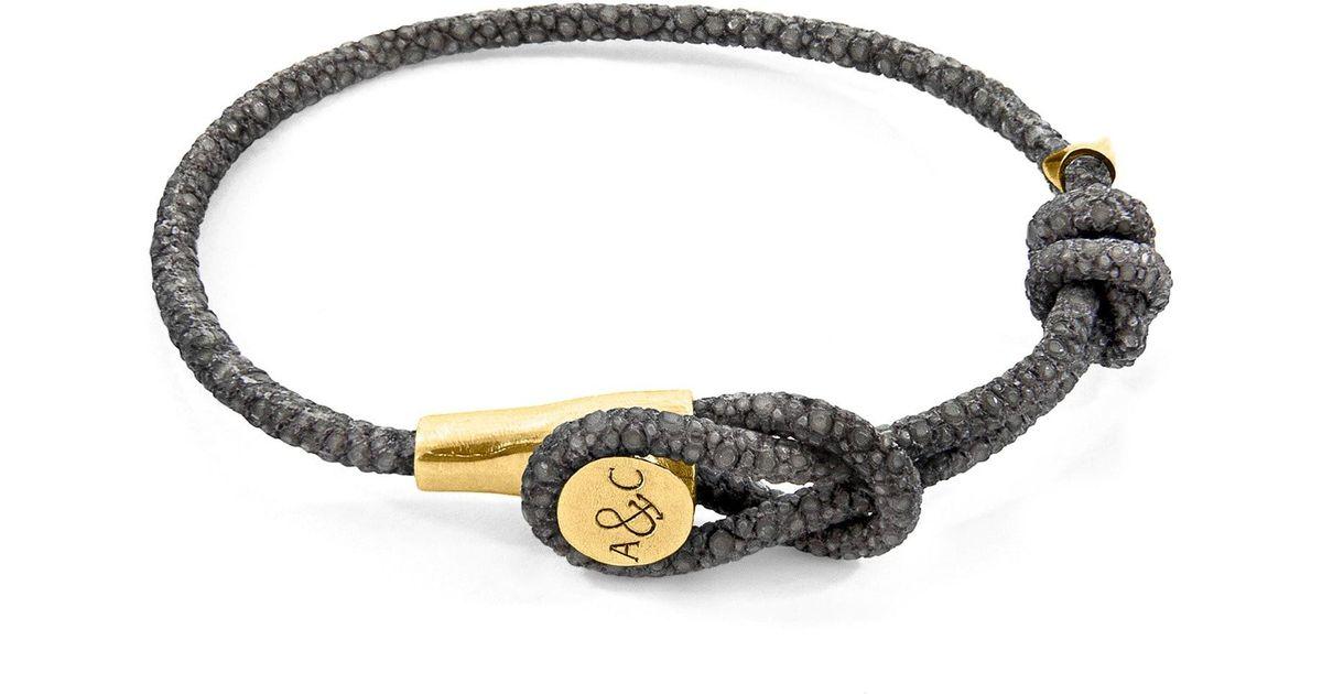 Anchor & Crew Liverpool 9kt Yellow Gold & Stingray Leather Bracelet - Azure Blue xvGJb5IhMw