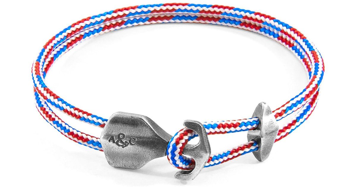 Anchor & Crew RWB Red White And Blue Admiral Rope And Silver Bracelet pnSlUmS25