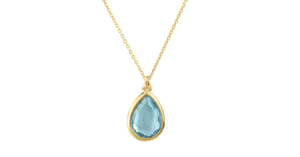 Latelita London Pisa Mini Teardrop Necklace Gold Blue Topaz EsETi