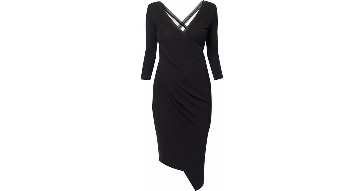 4fad9f454e50 WtR Marylebone Wrap Over Mid Sleeve Midi Dress in Black - Lyst