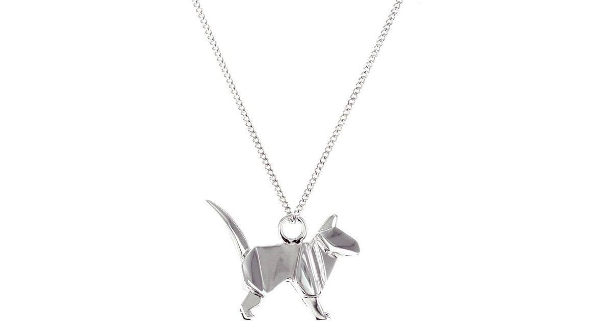 Origami Jewellery Sterling Silver Mini Cat Origami Necklace EE9jAU6nWX