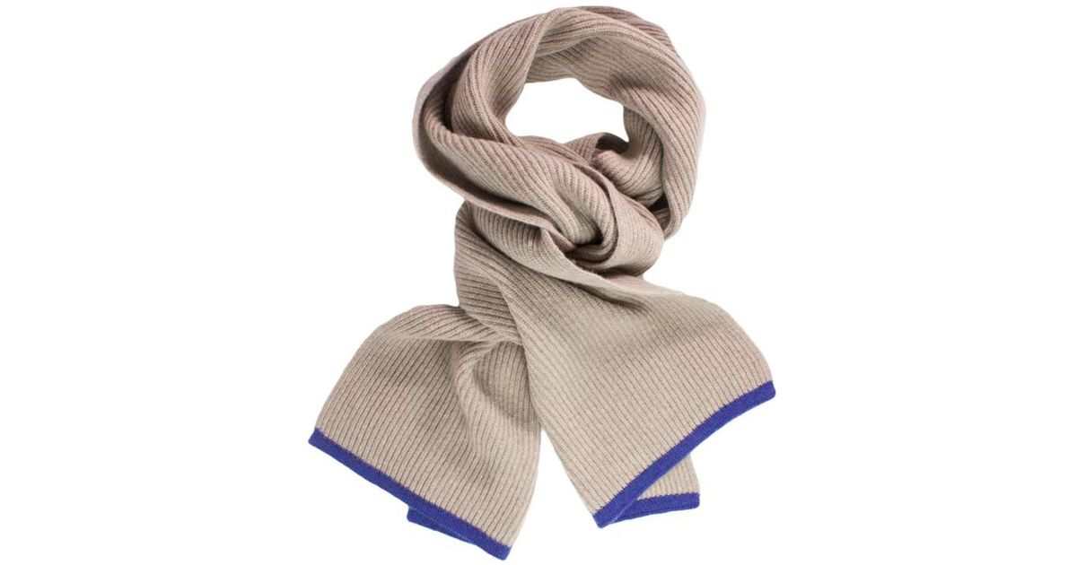 9c38d45fb Lyst - 40 Colori Beige Petrol Blue Small Ribbed Wool & Cashmere Scarf in  Metallic for Men