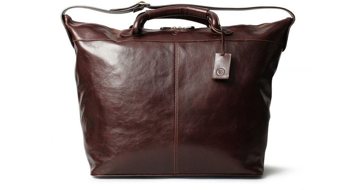Lyst Maxwell Scott Bags Luxury Italian Leather Travel Duffle Bag Fabrizio Dark Chocolate Brown In