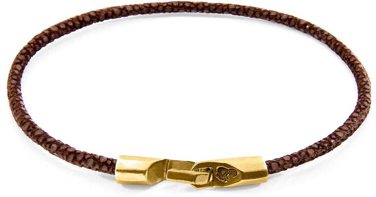 Anchor & Crew Talbot 9kt Yellow Gold & Stingray Leather Bracelet - Shadow Grey xPyafijn