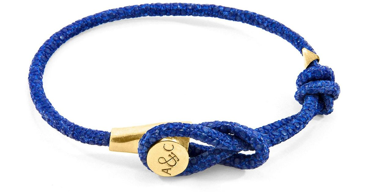Anchor & Crew Liverpool 9kt Yellow Gold & Stingray Leather Bracelet - Shadow Grey oJCsX