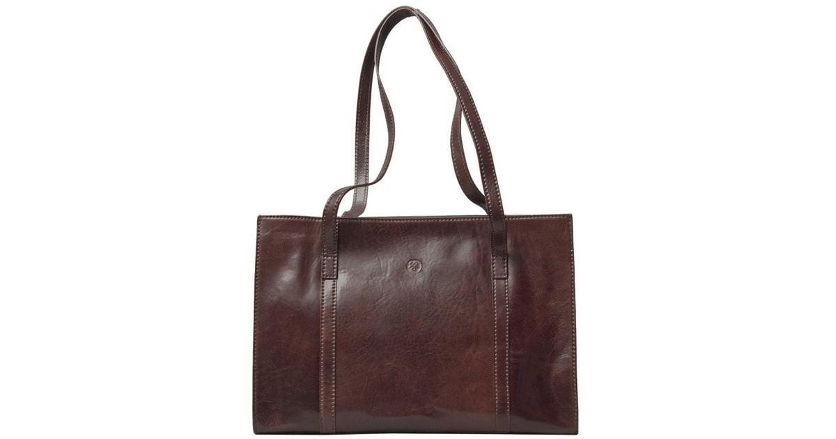 Lyst Maxwell Scott Bags Luxury Italian Leather Women S Work Bag Briefcase Rivara Chestnut Tan In Brown