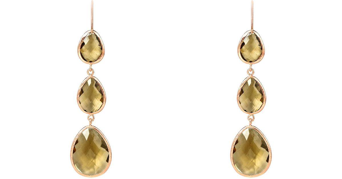 Latelita London Rose Gold Petite Drop Earring Smoky Quartz pwWc01e