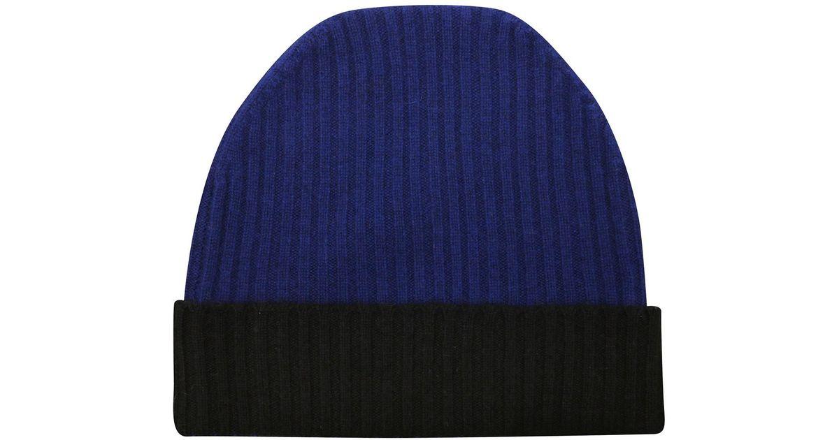 e3d08440bbb Lyst - Orwell + Austen Cashmere Navy   Black Cashmere Beanie in Blue