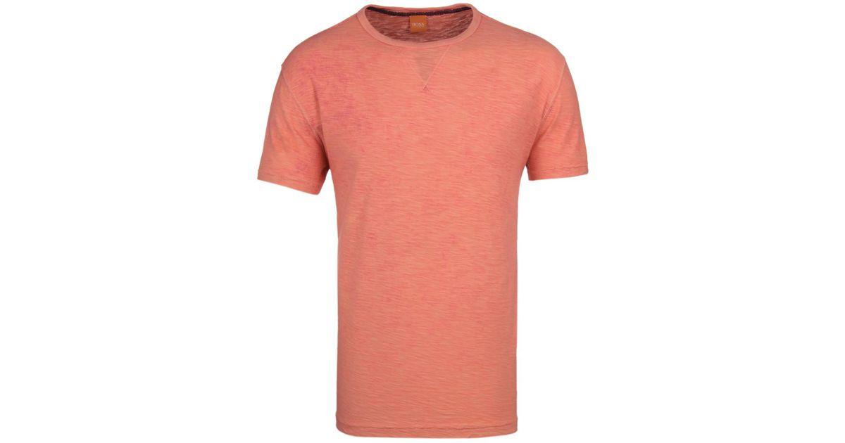 boss orange tay pale orange short sleeve slub cotton t. Black Bedroom Furniture Sets. Home Design Ideas
