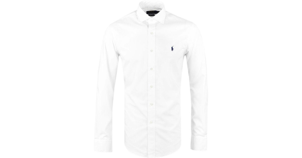 c5cf4430 ... coupon lyst polo ralph lauren ralph lauren white long sleeve slim fit  shirt in white for