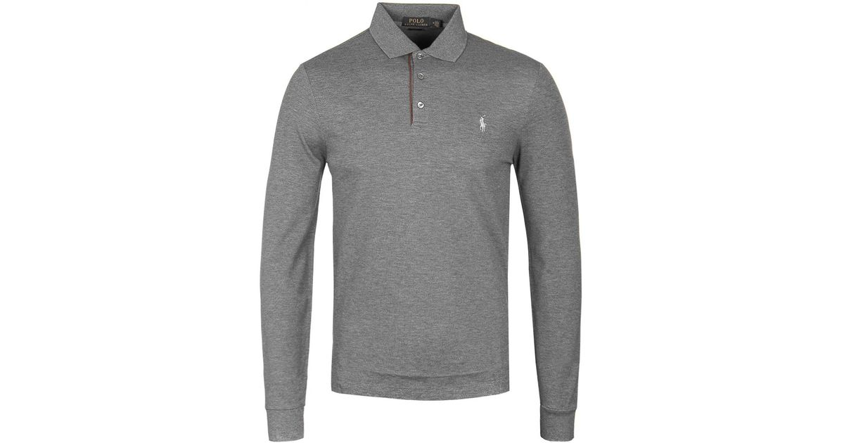 Polo Ralph Lauren Slim Fit Grey Long Sleeve Polo Shirt In Gray For