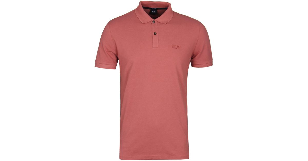 dab7e83c Lyst - BOSS Pallas Salmon Pink Pima Pique Polo Shirt in Pink for Men