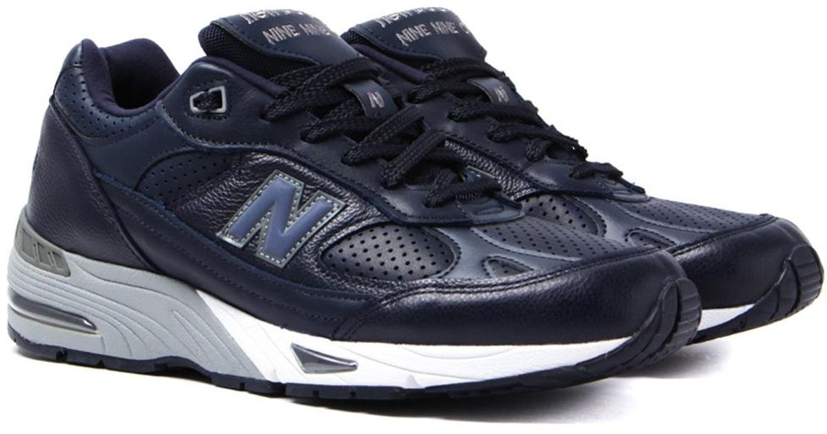 821075127dca ... promo code lyst new balance 991 made in england navy leather trainers  in blue for men