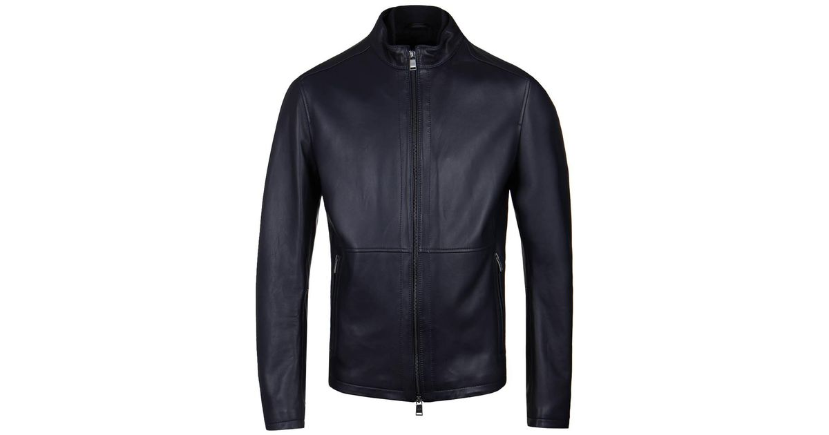 945dc44fd24 Lyst - BOSS Nabino Navy Lambs Leather Jacket in Blue for Men