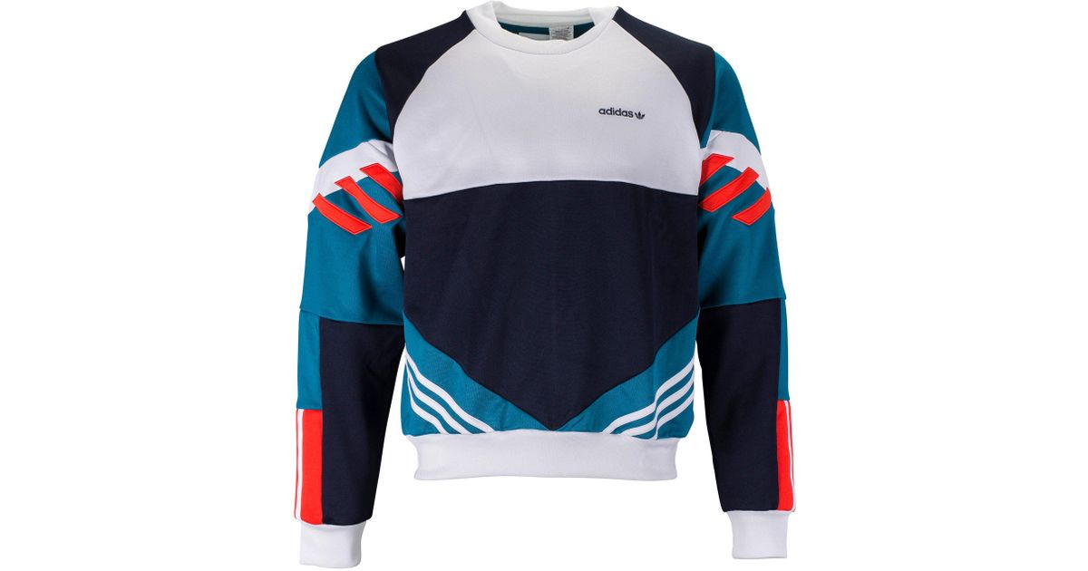 adidas originals chop shop crewneck sweatshirt in blue for men - lyst