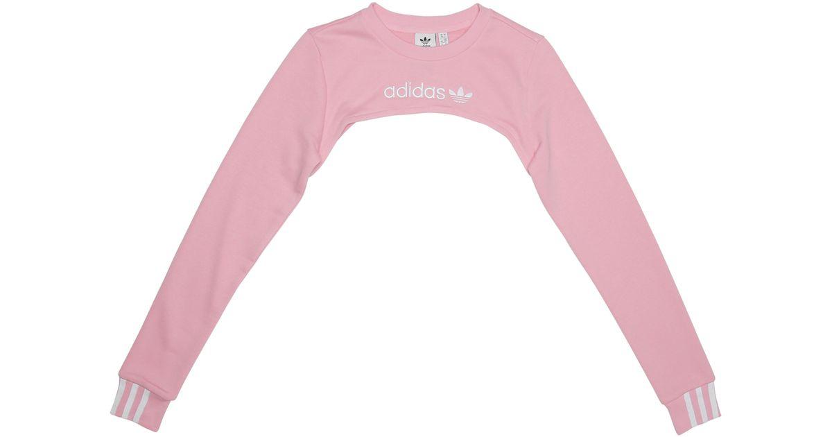 cfaf08af6a Lyst - adidas Shrug Sweatshirt in Pink