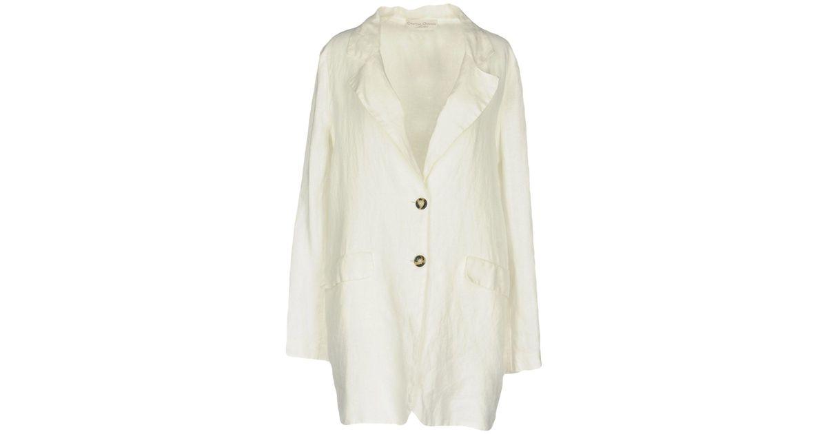 Cristina En Coloris Blanc Veste Collection Lyst Gavioli f6y7gb