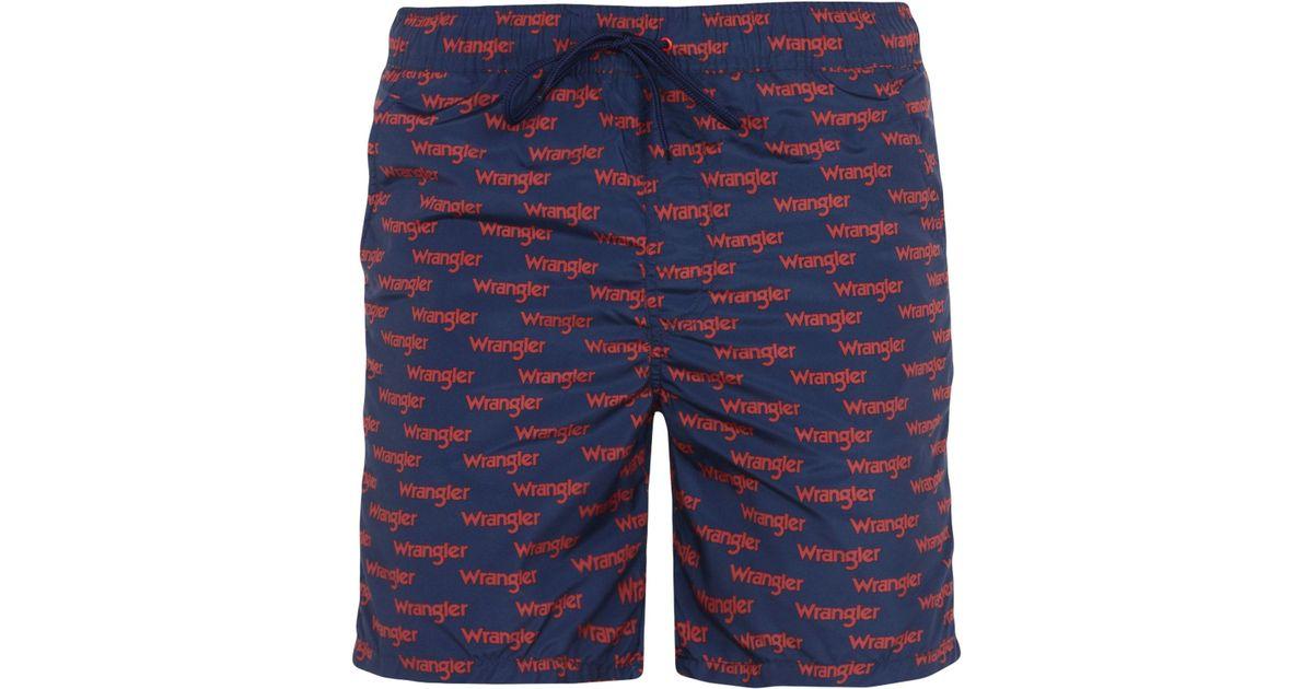 08c03c0d647f6 Lyst - Wrangler Swimming Trunks in Blue for Men