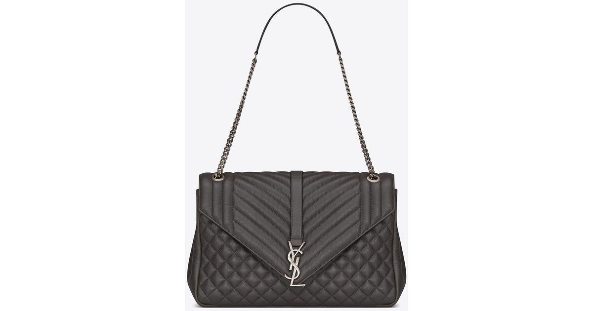 974cf26d73e11 Lyst - Saint Laurent Classic Large Soft Envelope In Black Mixed Matelassé  Leather in Black