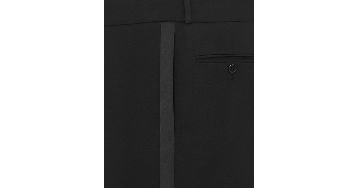 53f0f63c218 Saint Laurent Skinny Tuxedo Pants In Grain De Poudre in Black - Lyst