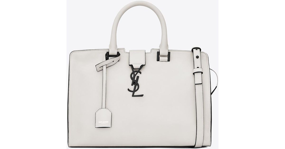 c35bd4dd22fb Lyst - Saint Laurent Small Cabas Ysl Bag In Dove White And Black Leather in  White