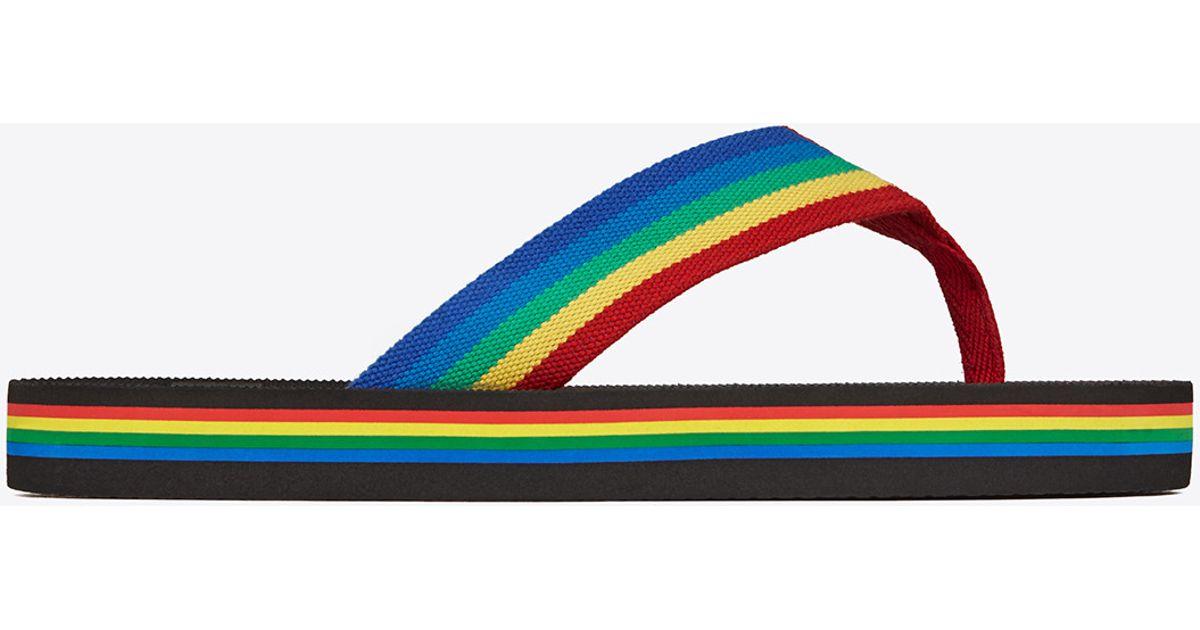 2a5d8610a2 Lyst - Saint Laurent Nu Pieds Rainbow Flip Flop In Multicolor ...