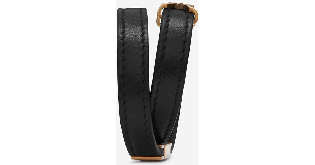 6693ede8025 Saint Laurent Ysl Double Wrap Bracelet In Black Leather And Light Bronze-toned  Metal in Black - Lyst