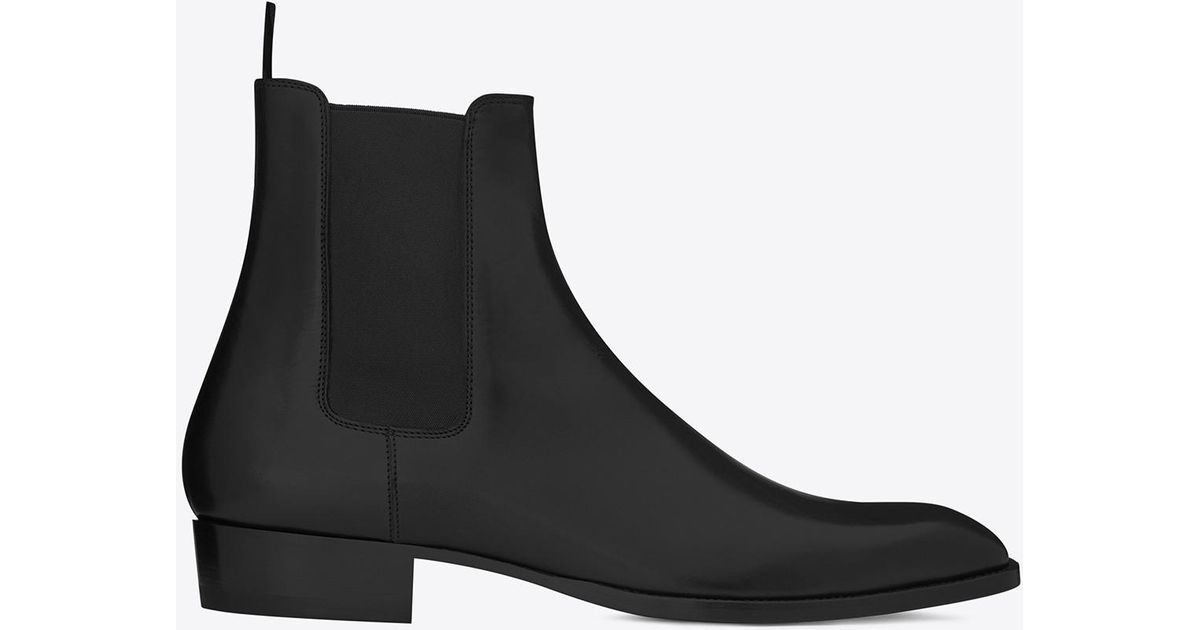 4a2670a4e4a Lyst - Saint Laurent Wyatt Chelsea Boots In Smooth Leather in Black for Men
