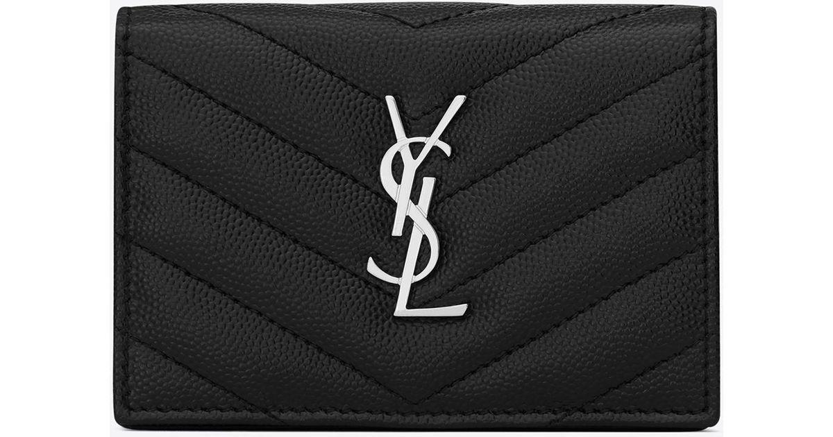 8eaffdde8a5 Saint Laurent Monogram Card Case In Grain De Poudre Embossed Leather in  Black - Save 24% - Lyst