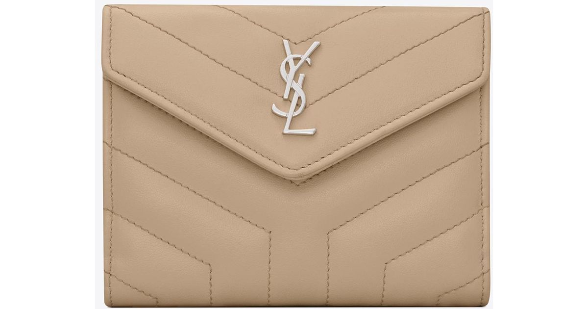 532ccd0448 Saint Laurent - Natural Loulou Compact Wallet In Matelassé