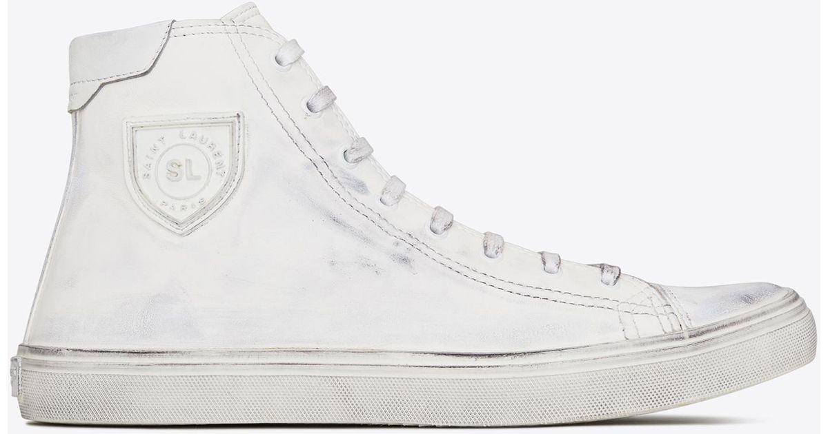 1acb093bc807 Lyst - Saint Laurent Bedford Sneaker In Used Leather in White for Men