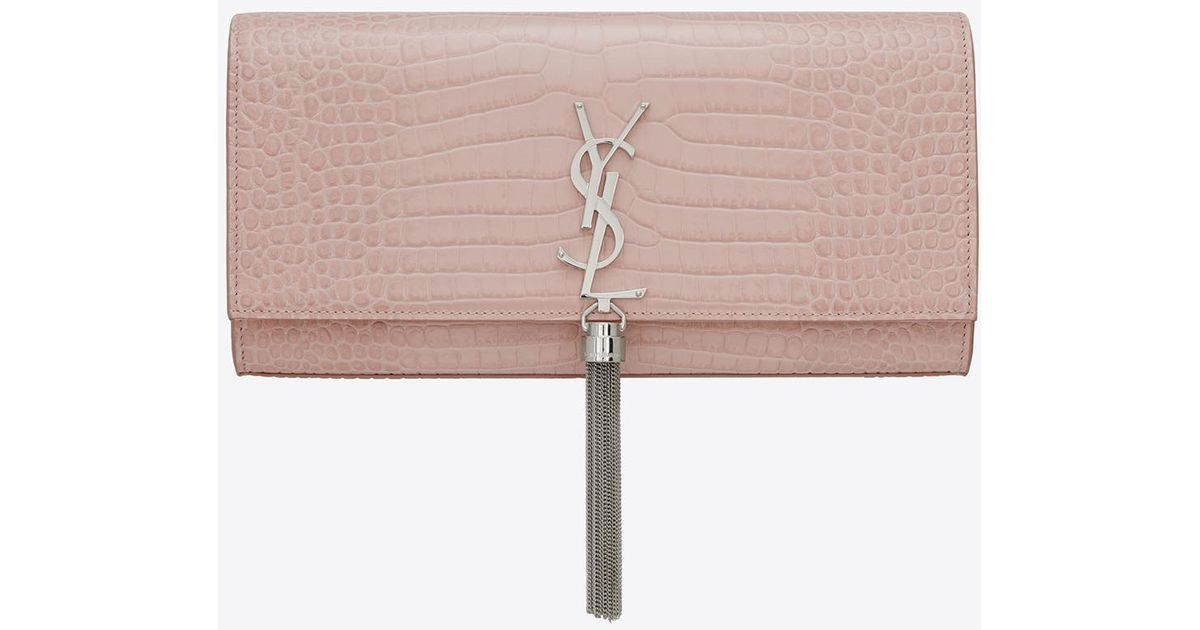 3b19520ffcc3f Saint Laurent Kate Tassel Clutch In Embossed Crocodile Shiny Leather in  Pink - Lyst