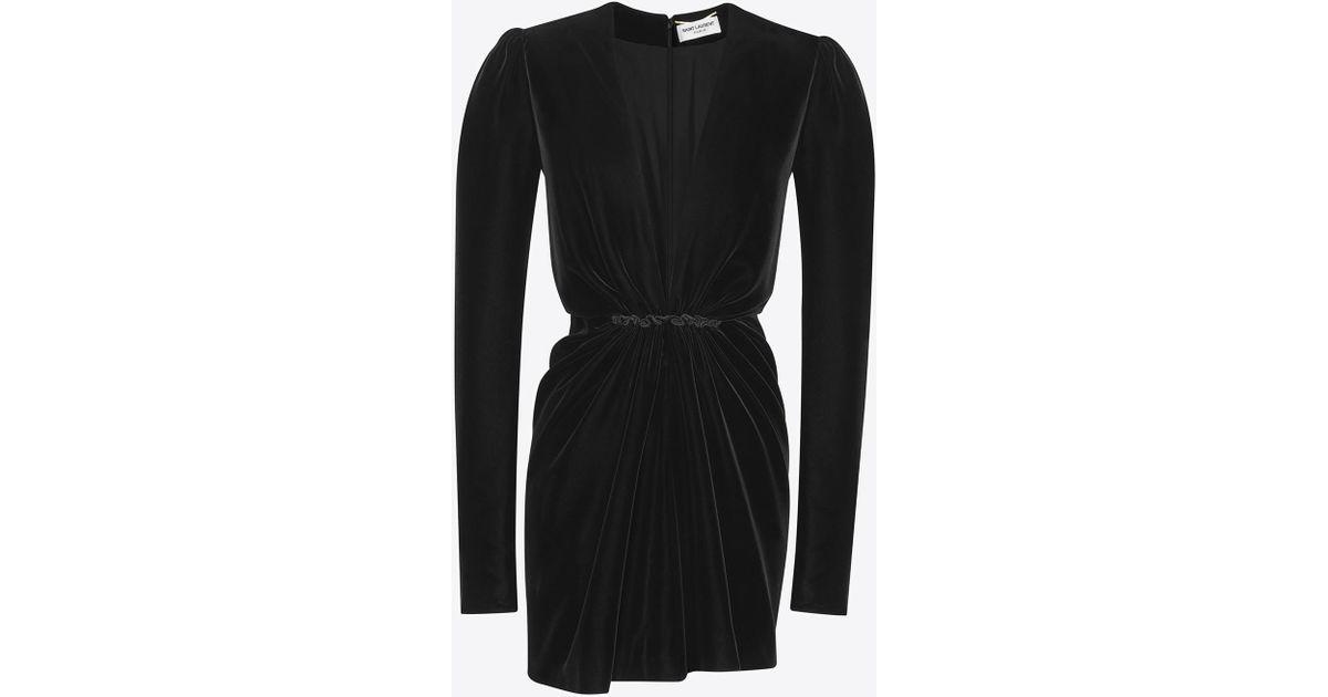 729b3a4dd3 Lyst - Saint Laurent V-neck Gathered Waist Long Sleeve Mini Dress In Black  Velvet in Black