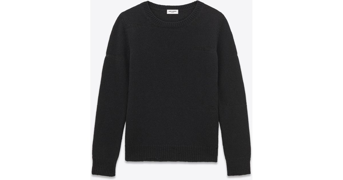 6ca86d032a Saint Laurent - Grunge Crewneck Sweater In Black Shetland Wool And Cashmere  for Men - Lyst