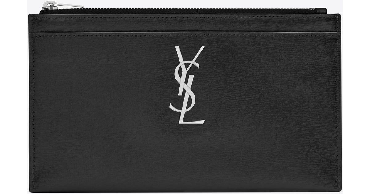 850953a6ea Saint Laurent - Black Monogram Bill Pouch In Smooth Leather - Lyst