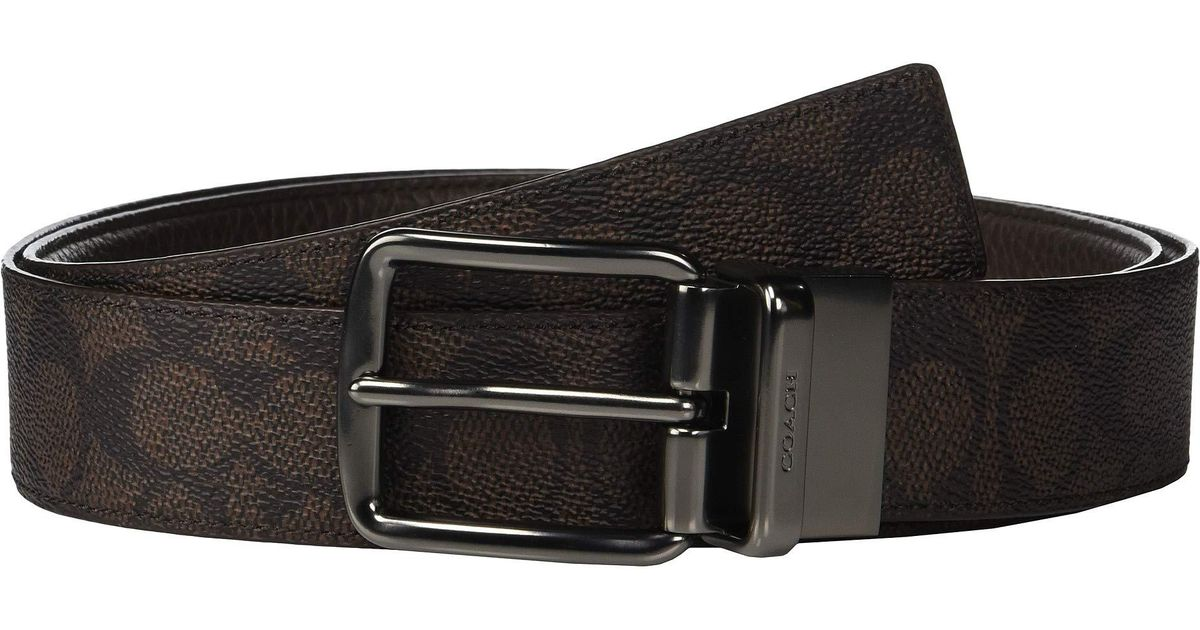 8ef011a2f756e Lyst - COACH Wide Harness Signature Reversible Belt (charcoal black) Men s  Belts in Brown for Men