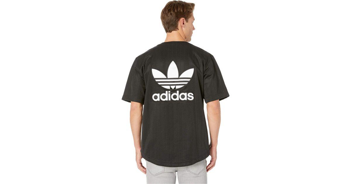 12daa2291d adidas Originals Satin Baseball Jersey (black/white) Men's Short Sleeve  Pullover in Black for Men - Lyst
