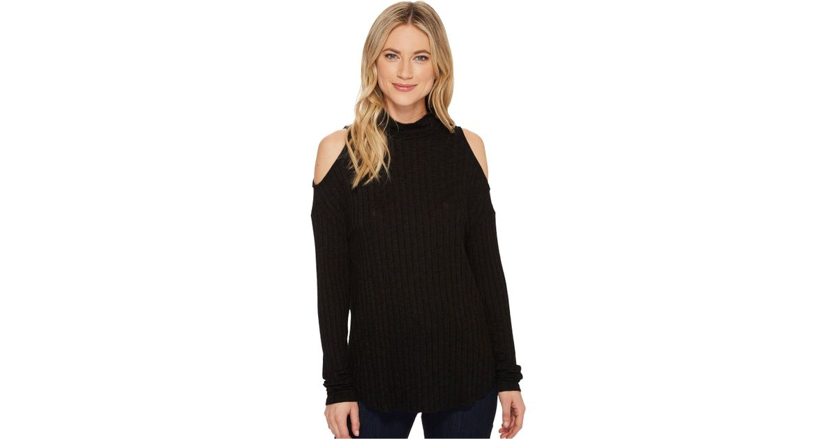 95369994aea148 Lyst - Michael Stars Jasper Poor Boy Long Sleeve Rib Turtleneck Cold  Shoulder in Black