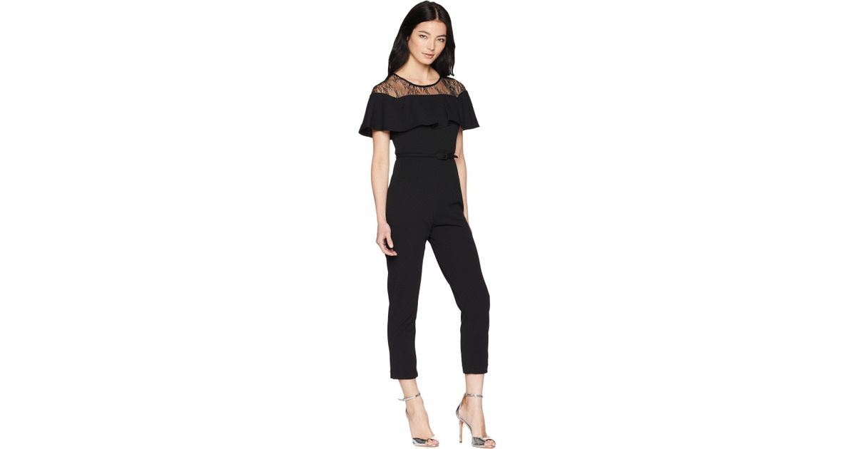 fe0b0950bae Lyst - Adrianna Papell Petite Illusion Neckline Jumpsuit in Black - Save  41.57303370786517%