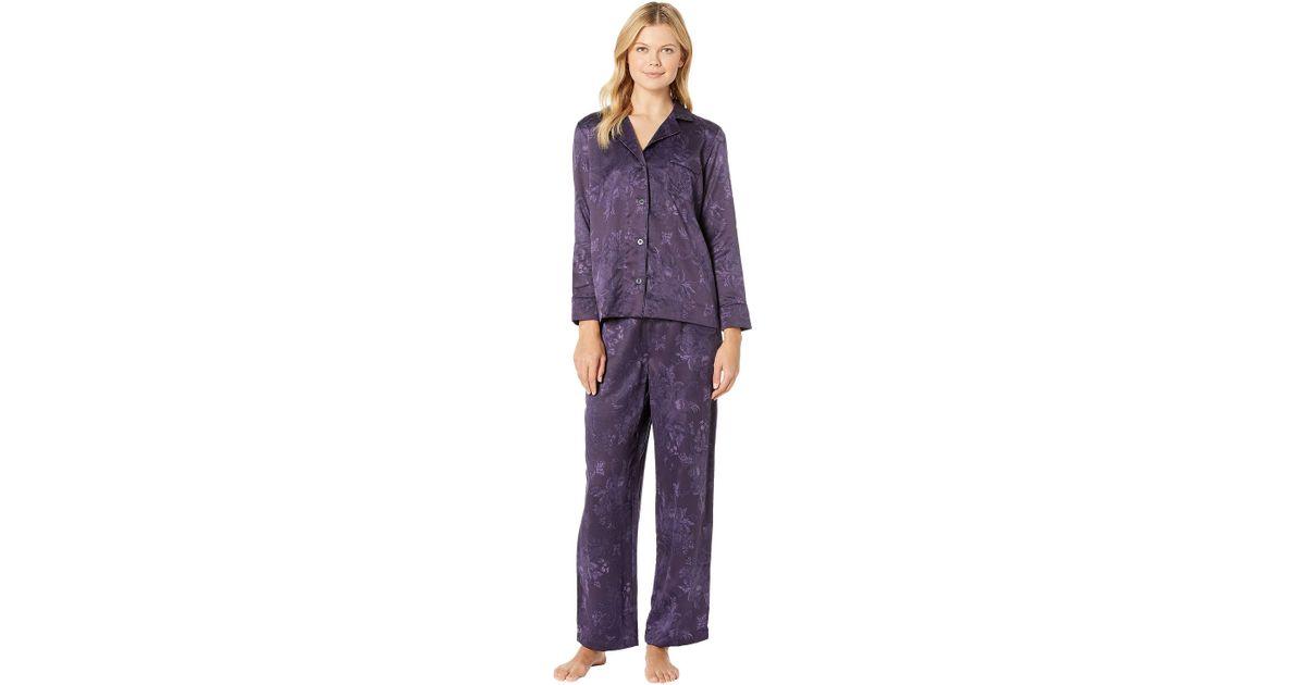 fd952413200b Lyst - Lauren by Ralph Lauren Tonal Satin Notch Collar Pajama Set in ...