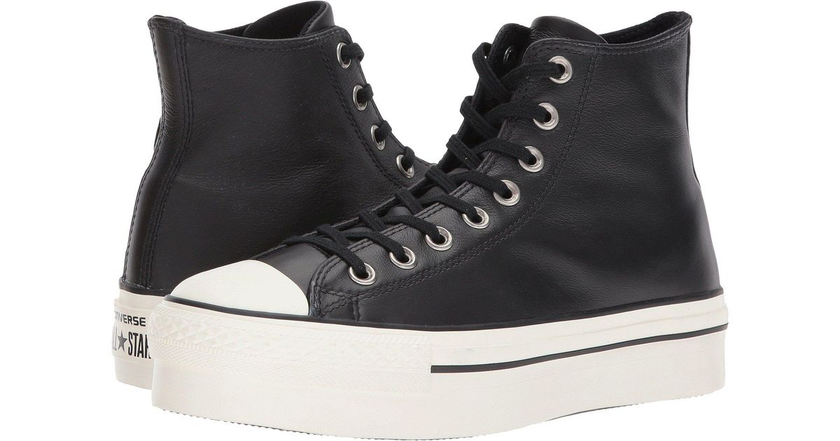 converse platform leather