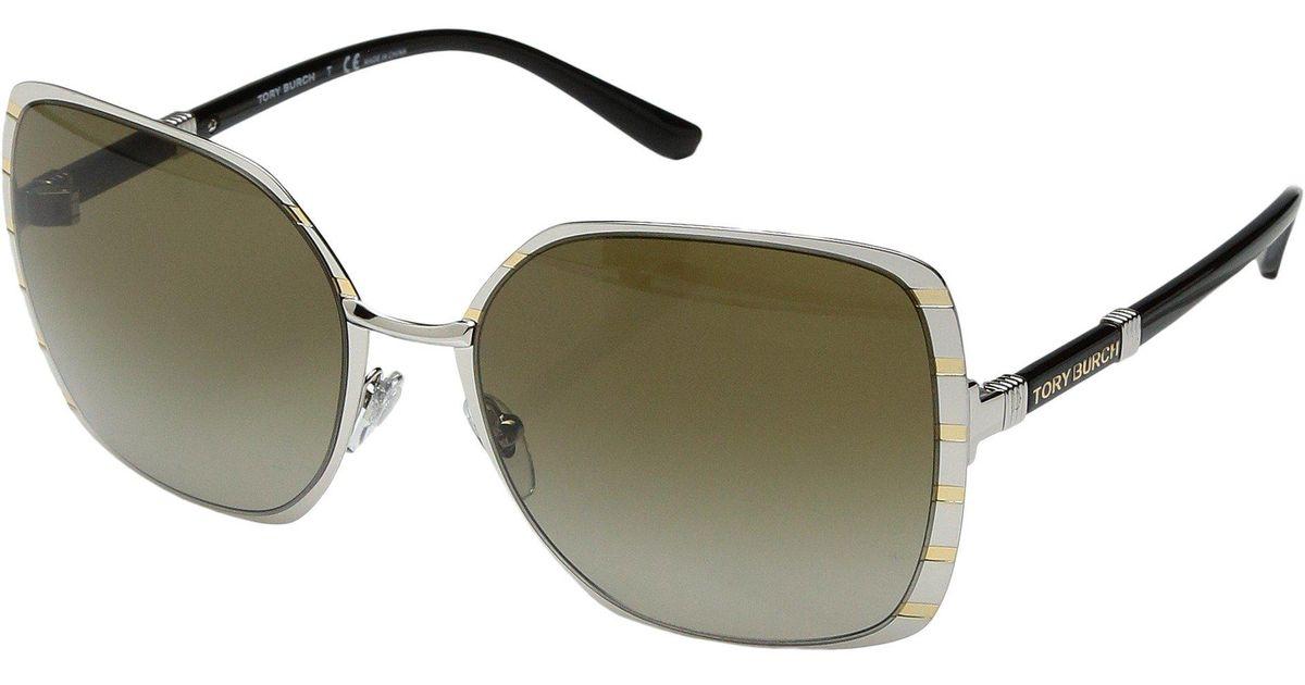 f7cfc561bd735 Lyst - Tory Burch Ty6055 Sunglasses 57mm in Metallic